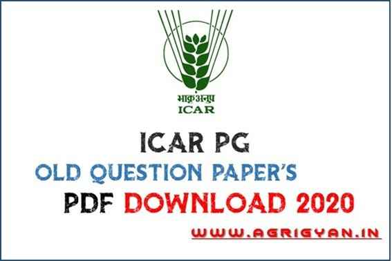 icar logo, text ' icar pg old question paper download pdf 2020' , red agrigyan.in logo